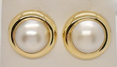 $276 • Buy 14K Yellow Gold 15mm Mabe Pearl Halo Polished Earrings