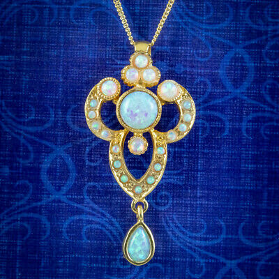 £295 • Buy Edwardian Style Opal Pendant Necklace 18ct Gold On Sterling Silver