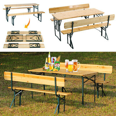 £219.95 • Buy Wood Outdoor Garden Folding Chairs 4-8 Seater BBQ Camping Picnic Table Bench Set