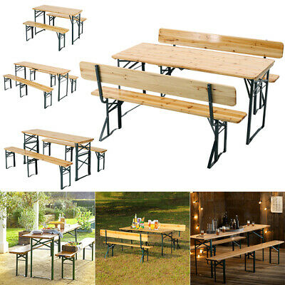 £219.95 • Buy Folding Wood Table & 2 Bench Set For Garden BBQ Picnic Dining Camping 4-8 Seater