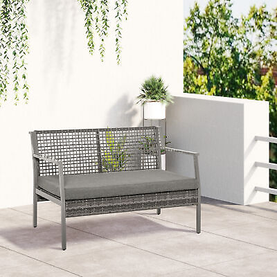 £139.99 • Buy Outsunny 2 Seater Rattan Loveseat Bench Outdoor Patio Garden Furniture W/