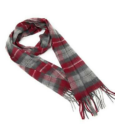 $54.22 • Buy 100% Cashmere Scarf - Grey And Burgundy Check -  Made In Scotland