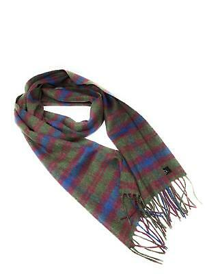 $54.22 • Buy 100% Cashmere Scarf - Green And Burgundy Check -  Made In Scotland