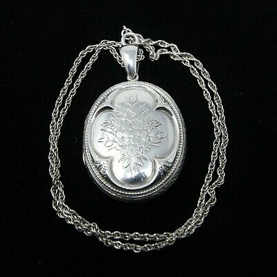 £110 • Buy Antique Victorian Solid Silver Sterling Locket Pendant Rope Chain Necklace