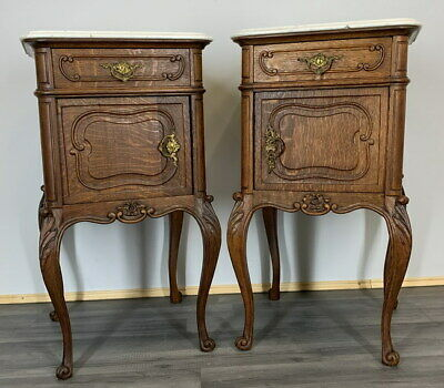 £599 • Buy Rare Carved French Antique Bedside Tables Cupboards Cabinets With Marble Tops