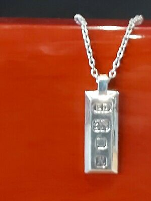 £35 • Buy 925 Sterling Silver Ingot Pendant And Chain