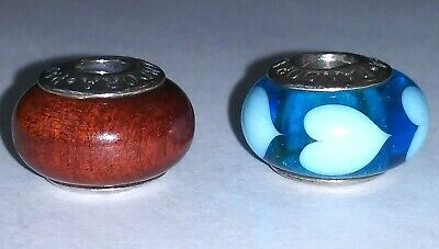 £30.28 • Buy !Lot Of 2 Authentic PANDORA 925 ALE Sterling Silver Charms Wood/Aqua Blue