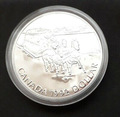 Canada 1992 Silver Proof One Dollar Coin ($1) Kingston To York Stagecoach - 25g • 20£