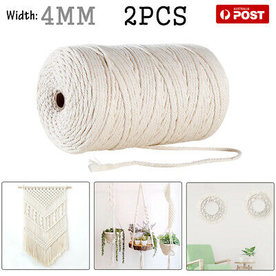 AU18.57 • Buy 2 Rolls 4mm Macrame Rope Natural Beige Cotton Twisted Cord Artisan Hand Craft AU