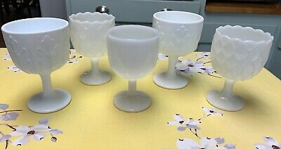 $20 • Buy Vintage Milk Glass Assorted Lot Of 5 Footed Compote Dishes