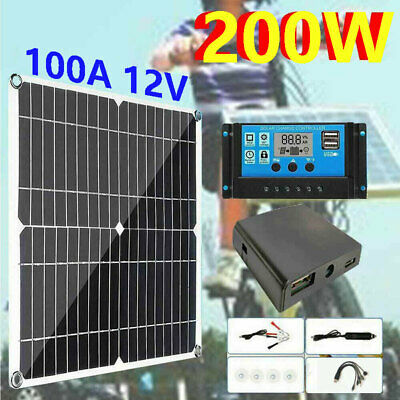 £27.99 • Buy 200W Solar Panel Kit Battery Charger With 100A 12V Controller Caravan Boat Camp