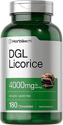 DGL Licorice Chewable Tablets | 4000 Mg | 180 Count | By Horbaach • 10.63£