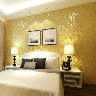 £5.99 • Buy 3D Luxury Gold Damask Embossed Wallpaper Rolls Feature TV Background Décor