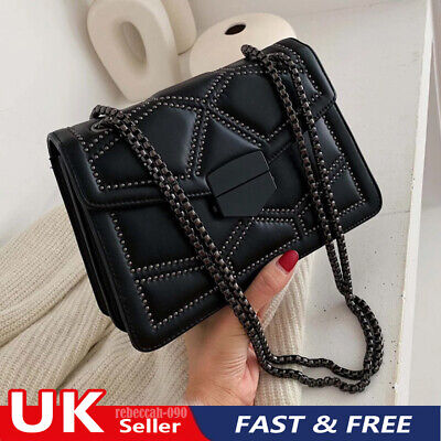 Women Quilted Chain Bag PU Leather Shoulder Crossbody Handbag Messenger Fashion  • 11.99£