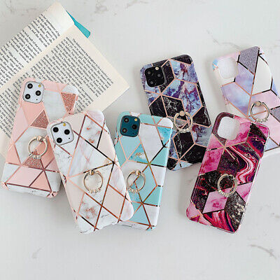 AU13.42 • Buy Case For IPhone 11 12 XR XS X SE 2020 8 7 Marble Phone Cover Silicone With Ring