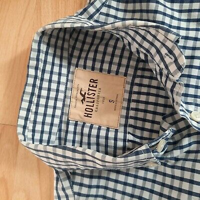 £12.99 • Buy Mens Hollister Checked Navy Blue & White Long Sleeve Shirt UK Size S Small