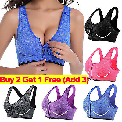 £2.99 • Buy Women Wireless Padded Sports Bra Front Zip Yoga Cami Push Up Vest Support Top UK