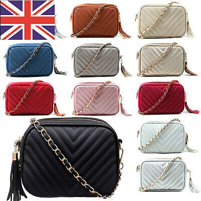 £12.99 • Buy Women Quilted Small Cross Body Bag Gold Chain Leather Ladies Shoulder Handbag UK