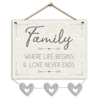 £2.62 • Buy Family Where Life Begins & Love Never Ends Wall Plaque With Hearts Jute String