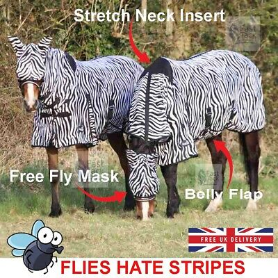 £29.85 • Buy Zebra Print Horse Fly Rug | Combo Neck Cover | Belly Protection | Free Fly Mask