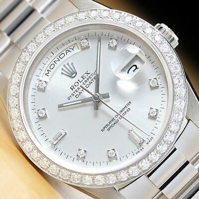 £12059.91 • Buy Rolex Mens President Day Date Factory Dial 18k White Gold Watch & 1.6 Ct Bezel