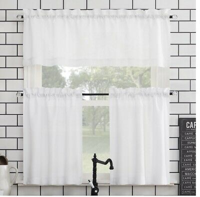 $12.99 • Buy New, Mainstays Solid 3 Piece Kitchen Curtain Set. 54 X36 . White. Free Shipping