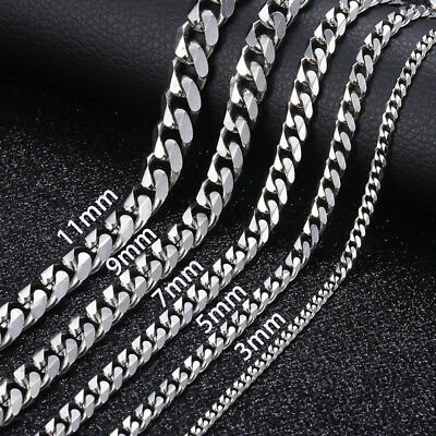 $8.29 • Buy 16 -36  Stainless Steel Silver Chain Cuban Curb Women Mens Necklace 3/5/7/9/11mm