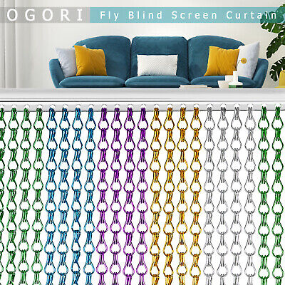OGORI Aluminum Door Curtain Metal Chain Fly Insect Blinds Screen Pest Control UK • 30.99£