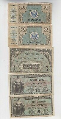 $9.50 • Buy Military Payment Certificate MPC 5 Notes Lowerto Vf