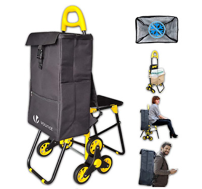 £48 • Buy Foldable Shopping Trolley With Seat Grocery Cart Three Wheeled Stair Climbing