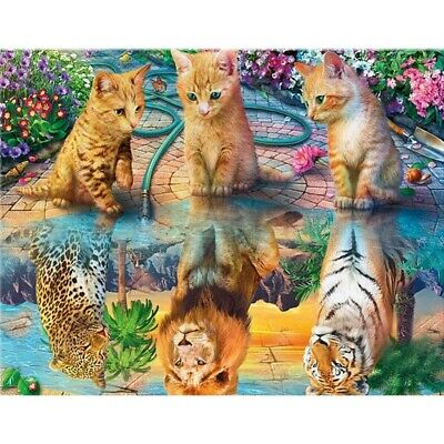 AU17.99 • Buy Full Drill 5D Diamond Painting Cross Stitch Kits Embroidery Tiger Cat Gift Decor
