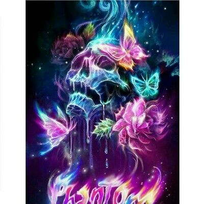 AU17.99 • Buy 5D Diamond Painting Embroidery Cross Stitch Mural Skull Butterfly Decor Gift Kid