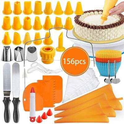 £26.21 • Buy 156Pcs Cake Decorating Kit Supplies With Cake Turntable Pastry Bags Frosting