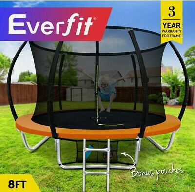 AU459.95 • Buy Everfit 8FT Trampoline For Kids - Round Enclosure With Safety Net - Brand New