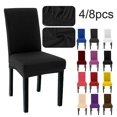£5.99 • Buy 4/8PCS Removable Wedding Dining Chair Seat Covers Slip Stretch Banquet Party