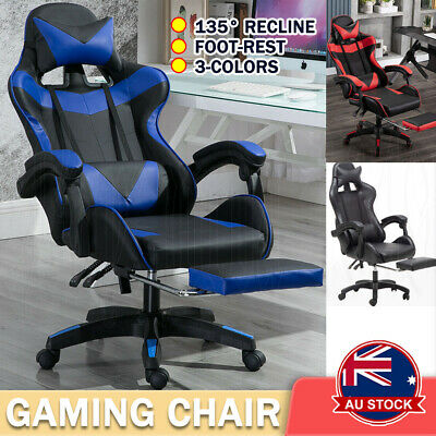 AU94.99 • Buy Gaming Chair Office Executive Computer Chairs Racing Footrest Racer Seating OZ