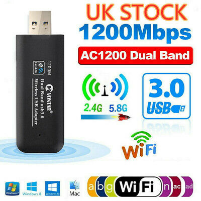 £8.99 • Buy 1200Mbps 5GHz USB 3.0 Wireless WiFi Network Receiver Adapter Dual Band Dongle