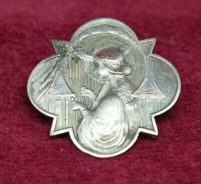 Silver Harp Playing Lady Profile Cameo Brooch / Pin • 5.99£