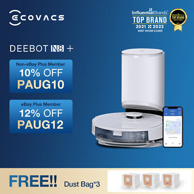 AU1099 • Buy Ecovacs Deebot N8+ Robot Vacuum Cleaner And Mop With Auto-Empty Station, 2300pa