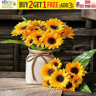 £3.80 • Buy 13 Heads Sunflowers Artificial Fake Flower Bouquet Garden Party Wedding
