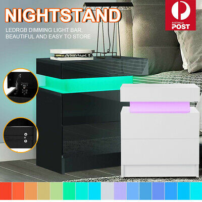 AU99.99 • Buy Bedside Tables White Side Table Drawers RGB 16 LED Colours High Gloss Nightstand