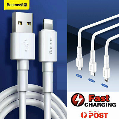 AU5.95 • Buy Baseus® Fast Charger Charging Cable USB Type C Lightning Micro IPhone Android AU