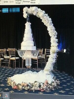 £399.99 • Buy 220 Cm SUSPENDED WEDDING CAKE SWING STAND ARCH WITH CRYSTAL CHANDELIER BASE
