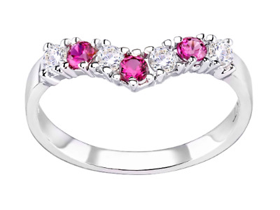 £13.95 • Buy Sterling Silver Ruby Wishbone Eternity Ring - All Sizes Available