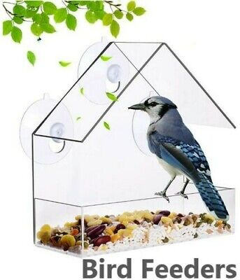 £5.69 • Buy Window Wild Bird Feeder Table Hanging Suction Cup Feeding Clear Viewing Perspex