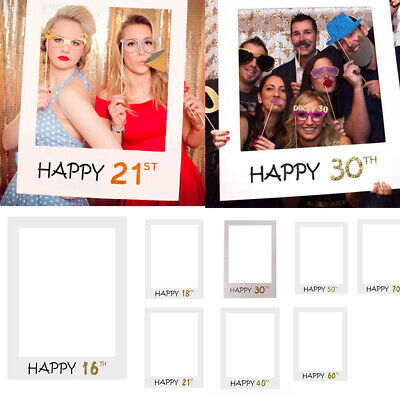 £3.99 • Buy 18/21/30/40/50thHappy Birthday Photo Frame Booth Props Selfie Party Decor UK