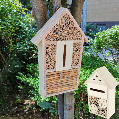 £9.99 • Buy Garden Wooden Butterfly Insect Bee House Natural Wood Bug Hotel Shelter Nest Box