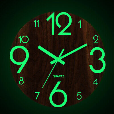 AU20.99 • Buy Glow In Dark Wall Clock Luminous Quartz Wooden Non Ticking Home Decor 12''/30cm