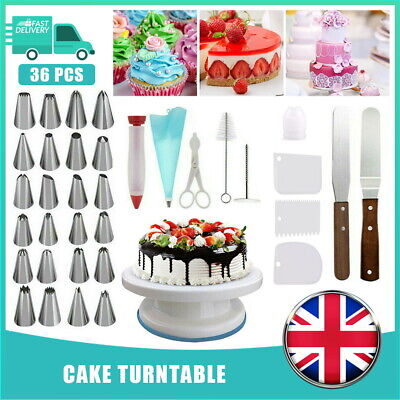 £11.59 • Buy 36PCS Cake Decorating Turntable Set Tools Mould Stainless Spatula Baking Nozzles