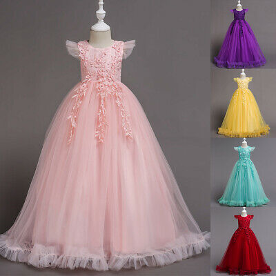 £19.47 • Buy Kids Girls Floral Dress Birthday Party Formal Wedding Dresses Ball Gowns Clothes